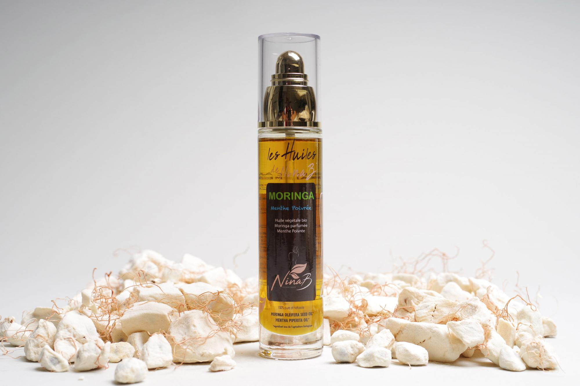 Moringa Oil with Organic Peppermint extracts - Natural, organic cosmetic product, certified ECOCERT COSMOS ORGANIC